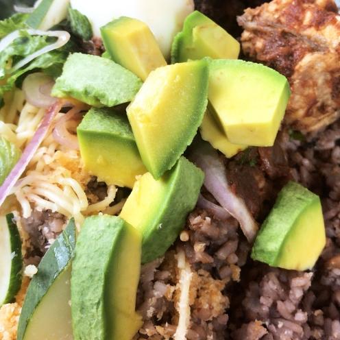 Waakye with avocado & egg