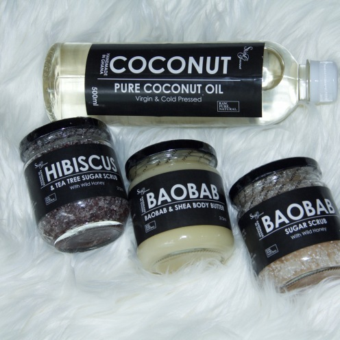 scrubs , body butter and coconut oil